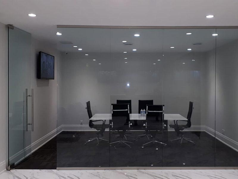 Glass wall conference room refitting